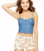 Chambray Crop Bustier Top