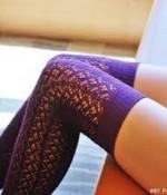 Tabbisocks- Over the Knee Crocheted Socks (OTK) in Plum Purple