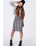 ANNALIESE GINGHAM CHECK MIDI SKIRT