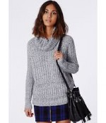 CARINA CHUNKY KNIT ROLL NECK JUMPER GREY