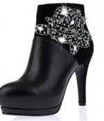 Shiny Rhinestone Thin High Heel Real Leather Short Boots