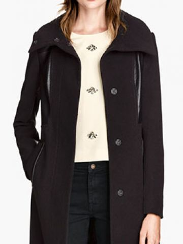 H&M black fitted coat