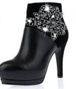 Shiny Rhinestone Thin High Heel Real Leather Short Boots